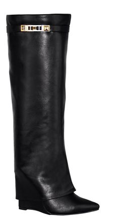 Shark Lock Folded Wedge Boots