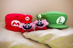 Crochet Death Stare Luigi Kirby and Crochet Mario Kirby Combo - Mario Bros and Smash Bros mix up **Made to order** by PersnicketyPrecision on Etsy