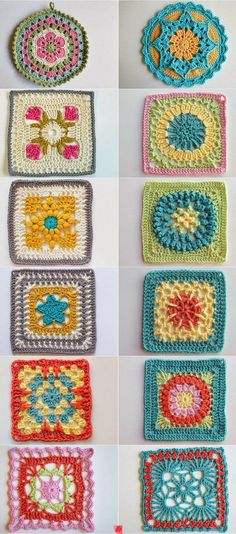 Crochet Granny Square Patterns Cuadrados de ganchillo - Today let's look at ten items from my favorite board: Crochet Blocks and Squares. I love curating examples of this niche of crochet and seeing them laid out side by side! Crochet Blocks, Crochet Motifs, Crochet Squares, Crochet Stitches, Motifs Granny Square, Granny Squares, Crochet Crafts, Crochet Projects, Knitting Projects