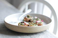 vegetarian vegan rye sourdough pancakes with kale pesto