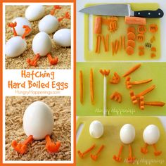 Want something fun to do with all those hard boiled eggs you have on hand this Easter? Create some Hatching Chick Hard Boiled Eggs with carrot legs. Baked Hard Boiled Eggs, Hard Boiled Egg Cooker, Hard Boiled Egg Recipes, Cooking Hard Boiled Eggs, Boiled Egg Diet, Boiled Egg Maker, Comida Baby Shower, Avocado Egg Recipes, Perfect Hard Boiled Eggs