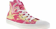 Converse Pink All Star Hi Vi Birds Trainers Soar high in the style ranks with these neon, geometrical VI Birds of paradise from the Converse All Star Collection. The pink fabric upper features a swarm of tropical birds in a modern sketch-style  http://www.comparestoreprices.co.uk//converse-pink-all-star-hi-vi-birds-trainers.asp