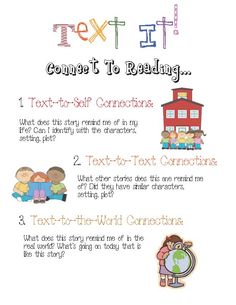 Hang up this anchor chart to help students make 3 connections in reading.Hang up this anchor chart to help students make 3 connections. Reading Skills, Teaching Reading, Teaching Ideas, Learning, Text To Text Connections, Making Connections, Text To Self Connection, Classroom Freebies, Classroom Ideas