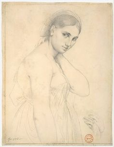 "Jean-Auguste-Dominique Ingres, Study of a Female Figure (Study for ""Raphael and the Fornarina""[?]) Pencil on white woven paper, 10 x 7 3/4 in. (25.4 x 19.7 cm)"