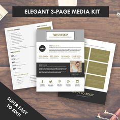 3 Page Gold, Black and White Media Kit Template