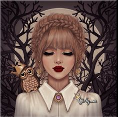 owl, drawing, and girly_m image Cartoon Kunst, Cartoon Art, Girl Cartoon, Cute Cartoon, Girly M Instagram, Sarra Art, Cute Girl Drawing, Drawing Girls, Girly Drawings