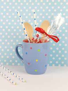 Polka Dot Coffee Cup DIY!!!   Add colored dots in your coffee or tea cups and make them even more adorable. Perfect to use them as gift with candy or hot chocolate mixture treats!  #coffee #diy #craft #tutorial #cup #ceramic #polkadot