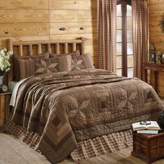 New Country Primitive Brown Green Log Cabin Quilt Block Star Queen Quilt Set 3 #VHC