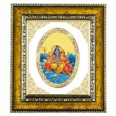 The god shiva and parvati frame in this royal wall hanging with 24 carat gold plated Swiss technology foil. link: http://diviniti.co.in/en/lord-shiv-parivar