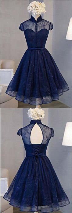 A Line Navy Blue Short High Neck Lace Open Back Cap Sleeve Mini Lace-up Homecoming Dresses M3432