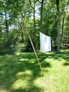 Interested in building an outside clothesline yourself? Source the cedar wood from Home Depot: a 10-Foot-Long Western Red Cedar is 18.97. A 1-inch Stainless Steel Dowel Pin is 15.48 and White Rope is 3.99, both from Amazon.