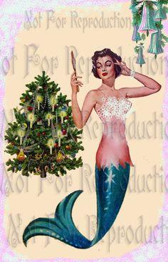 QUILT FABRIC BLOCKS RETRO MERMAID CHRISTMAS VINTAGE POSTCARD (quilting fat quarter,quilt,quilting,fat quarter quilt,fat quarters,fat quarter,squares,fat quarters quilt,vintage,pink,girl,cute)
