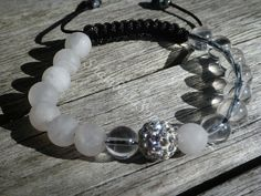 Yin Yang Clear Quartz and Matte Rose Quartz Shamballa Bracelet