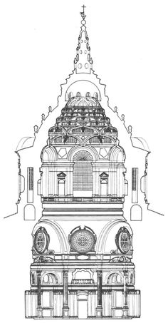 "ITALIAN BAROQUE ARCHITECTURE, Piedmont; section of Cappella della SS. Sindone, 1667-90, Turin Cathedral, by Guarini. ""The upper stage of the dome are composed of diminishing tiers of flattened rib-like arches stacked above each other like a house of cards, each framing a segmental window. This skeletal cone-shaped hexagon is surmounted by a circular lantern, rising from a ring supported by ribs forming a star pattern."""
