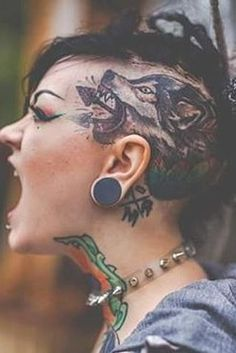 Here are some amazing Head Tattoos for Females and also get information about head tattoos that have to know. Get inspiration for your next head tattoo. Body Tattoo Design, Full Body Tattoo, Head Tattoos, Side Tattoos, Tatoos, Rose Tattoo On Side, Back Tattoo, Dragon Tattoo Designs, Tattoo Designs For Women