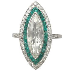 1910s French Emerald Diamond Gold Dress Ring | From a unique collection of vintage cocktail rings at https://www.1stdibs.com/jewelry/rings/cocktail-rings/
