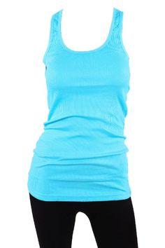 Sofra Women's Tank Top Cotton Ribbed-Small-Aqua Blue Sofra