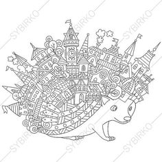 Hedgehog and City Town Houses. Adult by ColoringPageExpress
