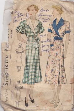 Simplicty  2418 Size 42 1930's Day Dress by pcraine on Etsy, $6.99