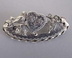 VICTORIAN sterling silver bird, heart, flowers and leaves pin, hallmarked circa 1890