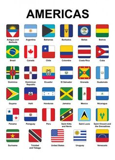 Buttons with flags of Americas — Stock Illustration World Flags With Names, All World Flags, Countries Of Asia, Countries And Flags, Us History, History Facts, History Education, Teaching History, Geography
