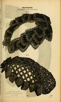 Victorian fashion plate on headdresses, hats, millinery- Civil War era- Godey's 1861.