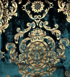 Teal and gold velvet