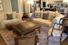 Furniture, Rectangular Leather Ottoman Coffee Table For Combined Family Room With Kitchen Design: Ottoman Coffee Table Ideas