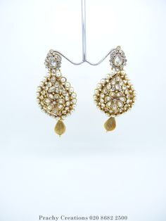 Gold finish Indian pearl earrings - PRI 327- For weddings and bollywood parties J 0316