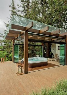 Beautiful wooden pergola modern twist - If you are looking for a more contempora. Beautiful wooden pergola modern twist - If you are looking for a more contemporary outdoor patio cover visit our website at raseoutdoorliving. Hot Tub Pergola, Jacuzzi Outdoor, Wooden Pergola, Backyard Pergola, Backyard Landscaping, Deck Jacuzzi Ideas, Landscaping Ideas, Pergola On The Roof, Timber Pergola