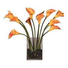 """23"""" Artificial Potted Orange Calla Lily Silk Flower Arrangement ($107) ❤ liked on Polyvore"""