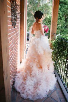 Pink ombre custom gown | Photography: Perpixel Photography - www.perpixelphoto.com  Read More: http://www.stylemepretty.com/california-weddings/san-juan-capistrano/2014/04/30/whimsical-diy-garden-wedding-at-franciscan-gardens/