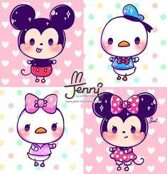 Kawaii Disney, Baby Disney, Disney Art, Disney Couples, Kawaii Doodles, Kawaii Chibi, Cute Doodles, Kawaii Art, Cute Disney Drawings