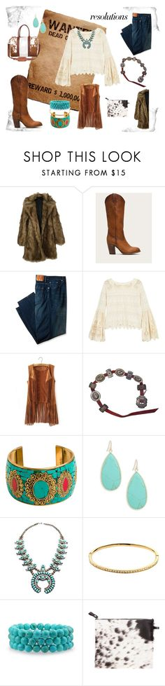 """#PolyPresents: back to my roots"" by sarah-johnson-xv ❤ liked on Polyvore featuring Frye, Levi's, Free People, Zad, Panacea, Melissa Odabash, Bling Jewelry, Florence Bridge and Mahi"