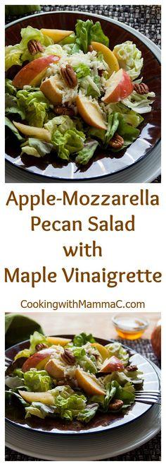 Apple-Mozzarella-Pecan-Salad with Maple Vinaigrette | Healthy | Vegetarian | Gluten free