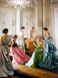 "Dorian Leigh and others by Cecil Beaton , Vouge 1948 ""Worldly Colour"""