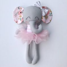 Items similar to Elephant doll - fabric doll - handmade doll - rag doll - girls room decor - girls toy - baby gift - cloth doll - elephant - plush - nursery on Etsy Sewing Toys, Sewing Crafts, Sewing Projects, Elephant Fabric, Unicorn Doll, Diy Bebe, Fabric Toys, Felt Dolls, Toys For Girls