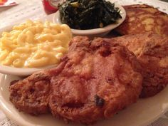 Pork chops and the best collards I've had since leaving N.C., at MaDea's Southern Soulfood at 38th Street and North Franklin Road.