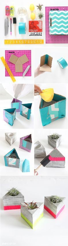DIY Triangle Cement Airplant Holder- love the pops of neon color blocking against the cool grey cement.
