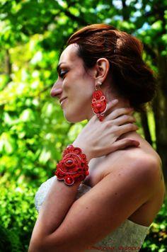 Byzantikon glamourous gorgeous red soutache by AtelierMagia Soutache Bracelet, Chakra Bracelet, Soutache Jewelry, Pearl Jewelry, Stackable Bracelets, Bridal Bracelet, Crochet Earrings, Glamour, Brooch