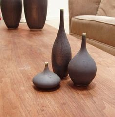 3 Small Ceramic Bottle Vase Set in Charcoal Matte by Sara Paloma. ceramics and pottery vases modern pottery bud vase