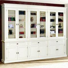 Bücherschrank SIENNA weiß B300cm Pinie Massivholz
