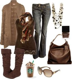 "LOLO Moda: Fashionable women outfits into ""Brown's"" for the fall. Look Fashion, Fashion Outfits, Womens Fashion, Fashion Trends, Fall Fashion, Trendy Fashion, Fashion Weeks, Fall Winter Outfits, Autumn Winter Fashion"