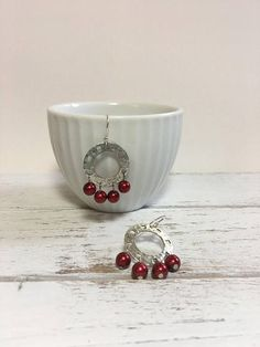 Hey, I found this really awesome Etsy listing at https://www.etsy.com/ca/listing/520434988/silver-red-pearl-earrings-chandelier