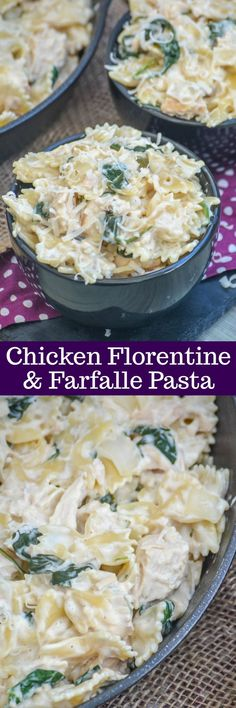 Chicken Florentine & Farfalle Pasta | A creamyChicken Florentine and Farfalle pasta dish is the ultimate Italian American comfort food. Lunch, dinner, no matter what this dish- featuring chopped rotisserie chicken, fresh baby spinach, and tangy Parmesan- is made to be something quick & easy that's sure to satisfy anyone.
