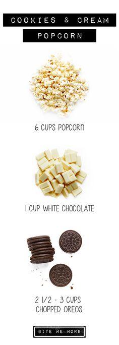 Cookies and Cream Popcorn Recipe. #Popcorn #BiteMeMore