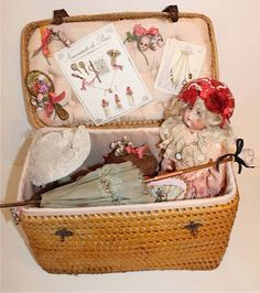 "Sweet sewing or picnic basket for a dolly""trunk"""