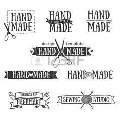 ciseaux de couture: Ensemble de cru badges rétro à la main, des étiquettes et…