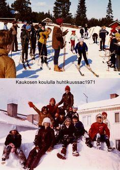 kaukosen koululla kittilässä.jpgNämä hiihtokuvat otin Kaukosen koululla huhtikuussa 1971. Olimme Kaukosessa kaksi vuotta. Peruskouluun sirryttäessä 1972 muutimme Kallon koululle. Kun sitten Mellakoskella avautui peruskoulun opettajan virka, muutimme takaisin Ylitorniolle kotimaisemiin. Kittilän vuodet olivat kuitenkin mukavia. Yläkuvassa Kaukosen Pauli lähettää hiihtäjiä matkaan koulun mestaruushiihdoissa.