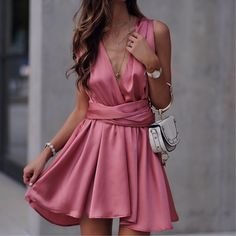 Pretty pink stain dress for only $23!  http://rstyle.me/cz-n/crji3jb8ym7 Cocktail dress. Party dress. Satin bridesmaid dress. Affordable dress